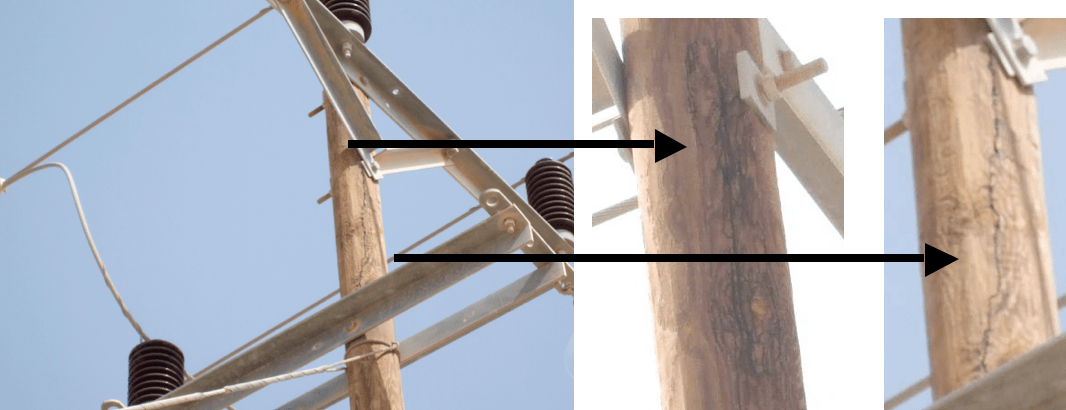 insulation Resolving Problems from Poor Insulation Performance in Desert Environments Unbonded cross arms with tracking evident from top and between