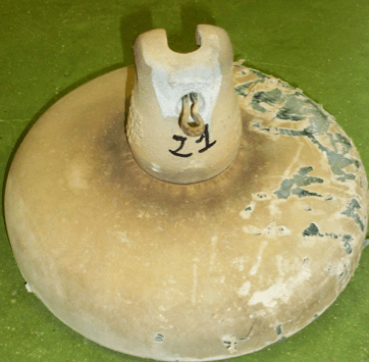 Fig. 5: Example of RTV-coated glass insulator with damage to coating.