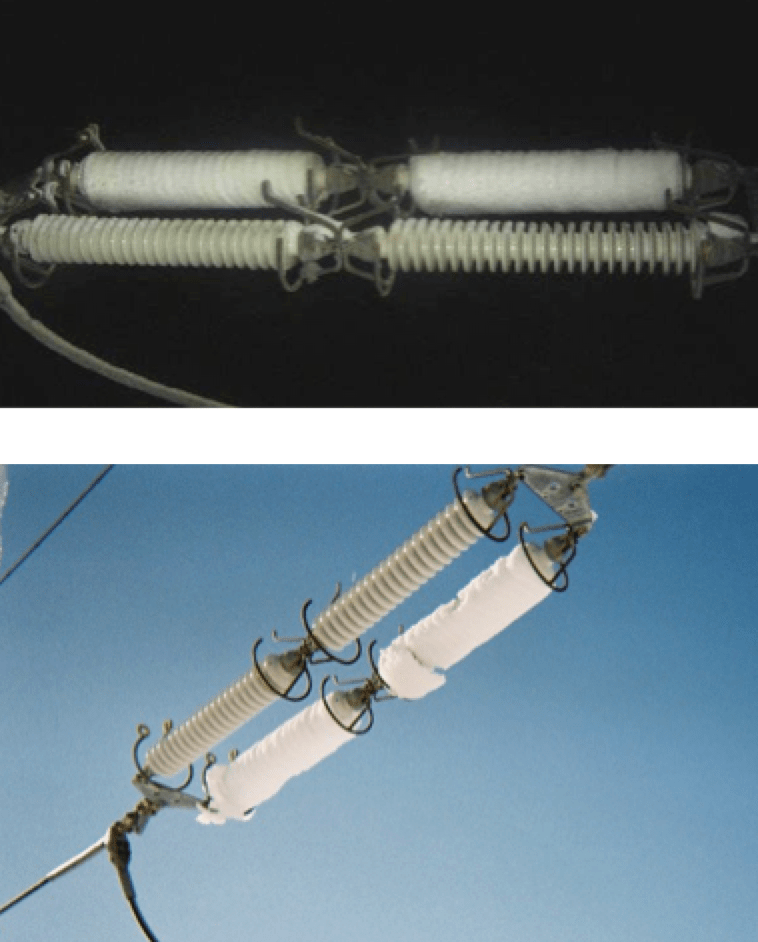 Fig. 1a: Examples of packed snow on horizontally-mounted long rod insulator strings. insulator string Widespread Blackout Triggered  Study of Contaminated Snow on Insulator Strings Screen Shot 2018 10 14 at 13
