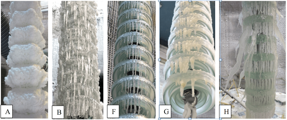 Fig. 3: Physical appearance of ice accreted insulators before voltage application (service cases A-B-F-G-H correspond to Fig. 2). hvdc insulator Full-Scale Testing of HVDC Insulators for High Salt/High Icing Environment Physical appearance of ice accreted insulators before voltage application