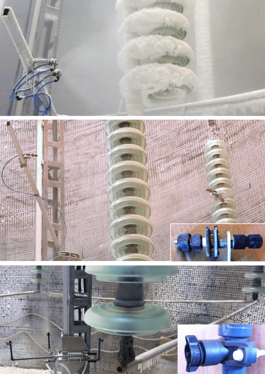 Set-up of nozzles. Top – for rime ice accretion without voltage; Middle – for glaze ice accretion without voltage; Bottom – for glaze ice accretion under voltage hvdc insulator Full-Scale Testing of HVDC Insulators for High Salt/High Icing Environment Set up of nozzles