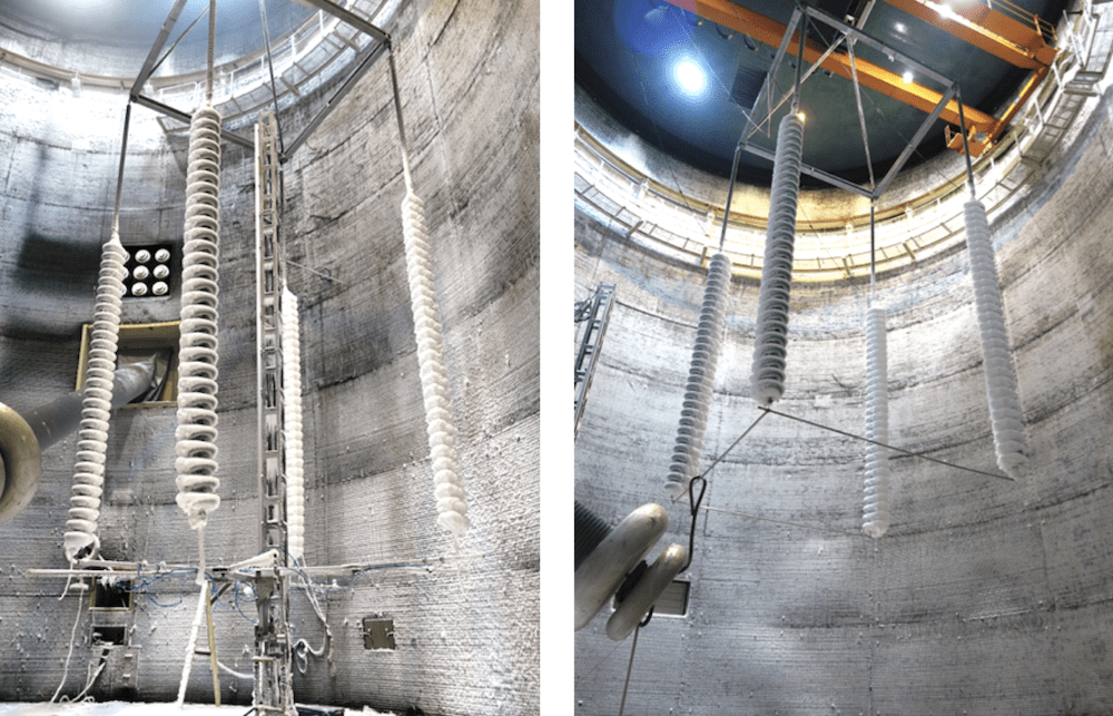 Fig. 4: Left: set-up for four insulators in parallel during ice accretion without voltage; Right: set-up for four insulators in parallel during voltage test (both for service case A). hvdc insulator Full-Scale Testing of HVDC Insulators for High Salt/High Icing Environment set up for four insulators in parallel during ice accretion without voltage