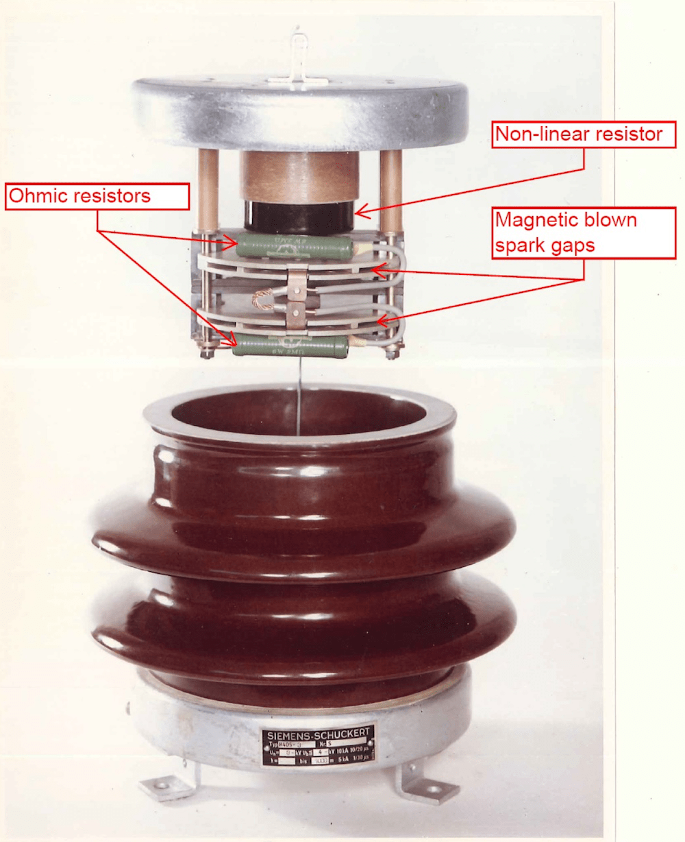 Fig. 1: 3 kV DC surge arrester from 1960 (courtesy, Siemens AG). [object object] Development & Testing Surge Arresters for DC Applications 3 kV DC surge arrester from 1960