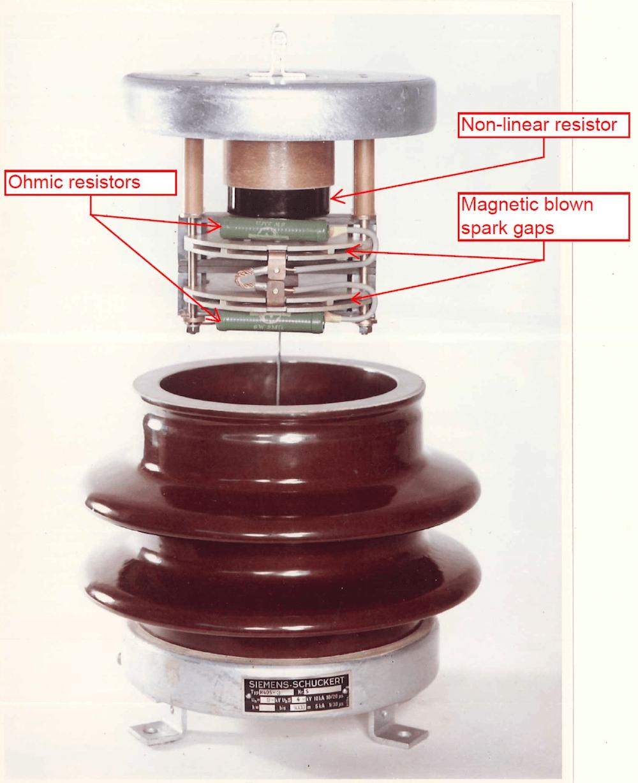 Fig. 1: 3 kV DC surge arrester from 1960 (courtesy, Siemens AG).