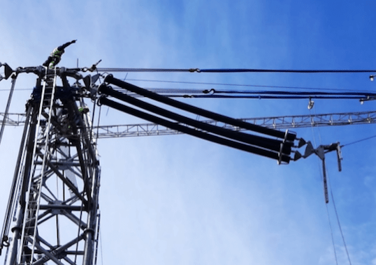 [object object] Design & Installation of Composite Insulators for New ±525 kV DC Line Almost no bending visible on insulator