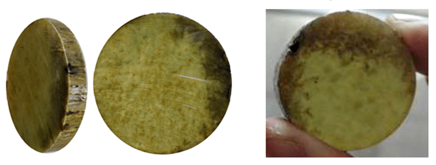 Fig. 4: Appearance of cross-sections of fiberglass rod of insulators affected by semi-conductive erosion. (left) from Sweden; (right) from China. composite insulator Testing Adhesion Between Fiberglass Rod & Housing in Composite Insulators Appearance of cross sections of fiberglass rod of insulators affected by semi conductive erosion