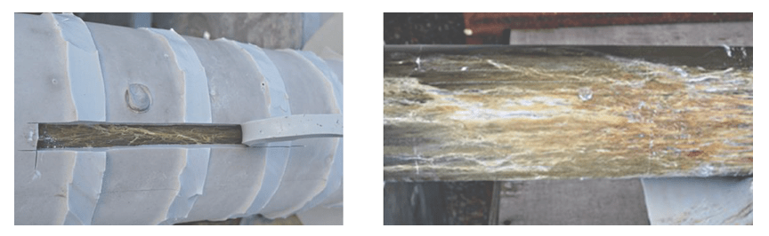 Fig. 2: (left) Example of weak adhesion revealed by simple stripe test; (right) example of deterioration at interface rod/housing penetrating into rod. composite insulator Testing Adhesion Between Fiberglass Rod & Housing in Composite Insulators Example of weak adhesion revealed by simple stripe test