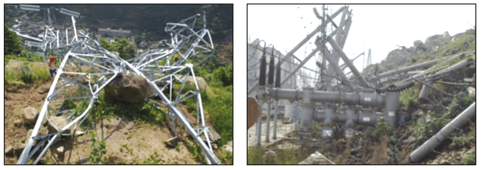 Examples of damage to power infrastructure and equipment due to earthquake. bushing Development & Testing Bushings for Seismic Conditions Examples of damage to power infrastructure and equipment due to earthquake
