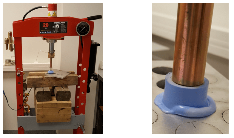composite insulator Testing Adhesion Between Fiberglass Rod & Housing in Composite Insulators Hydraulic press utilized for shear stress test example of deformation of flexible silicone rubber