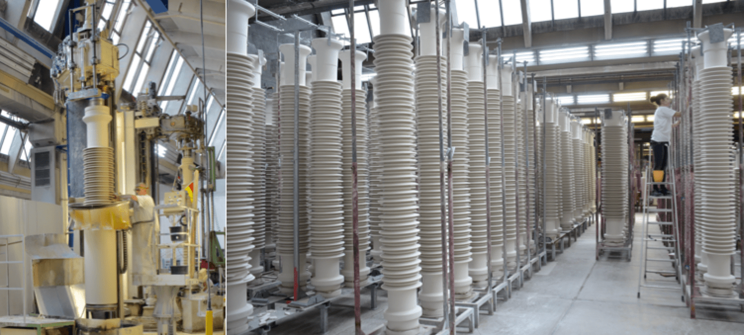 Turning (left photo) and drying of porcelain insulators made by plastic/wet process Seismic Performance Seismic Performance of Porcelain Insulators at Substations Turning and drying of porcelain insulators made by plastic