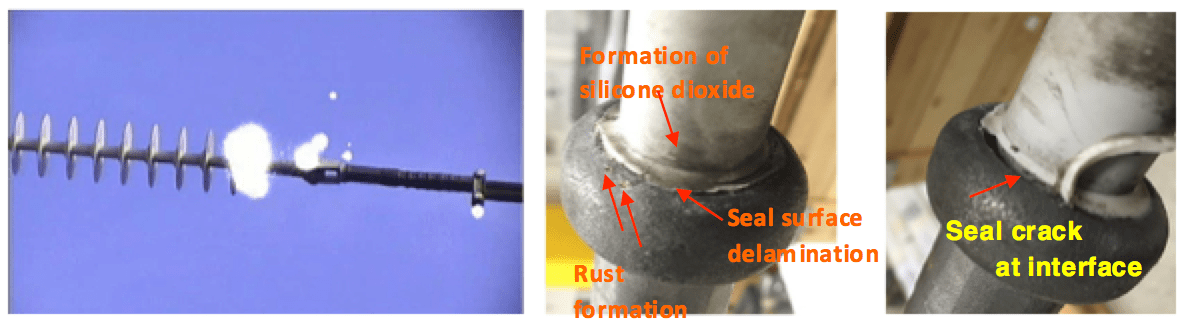 Fig. 5: Permanent corona discharges on insulator end fitting, split pin of tension clamp and spacer (left) and damage caused by permanent corona discharges on insulator end fitting (middle and right). Development of Polymeric Insulation for Today's Network Requirements Polymeric Insulation Development of Polymeric Insulation for Today's Network Requirements corona hv