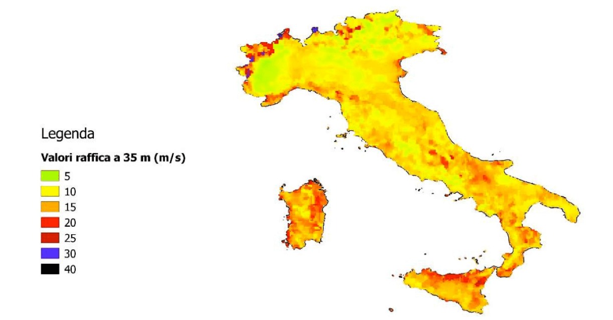 impact of climate change on power systems & electrical insulation: experience in italy Impact of Climate Change on Power Systems & Electrical Insulation: Experience in Italy Map of Italy showing geographical distribution of wind gusts at 35 m above ground 2012 2015