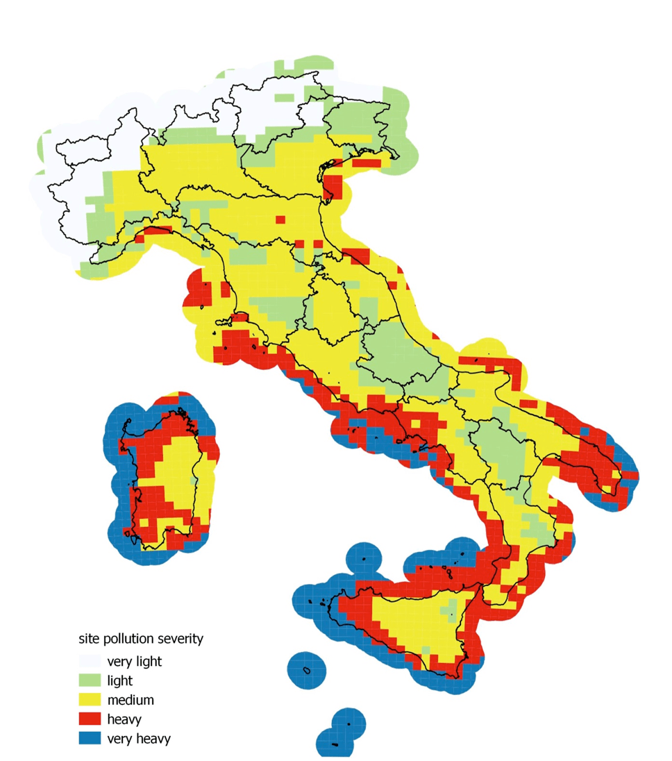 Fig. 19: New pollution map of Italian territory. impact of climate change on power systems & electrical insulation: experience in italy Impact of Climate Change on Power Systems & Electrical Insulation: Experience in Italy New pollution map of Italian territory