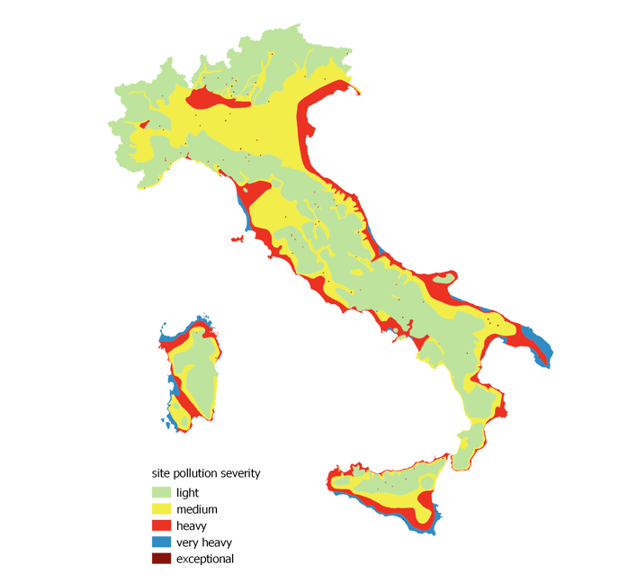 impact of climate change on power systems & electrical insulation: experience in italy Impact of Climate Change on Power Systems & Electrical Insulation: Experience in Italy Pollution map of Italian territory elaborated during 1990s
