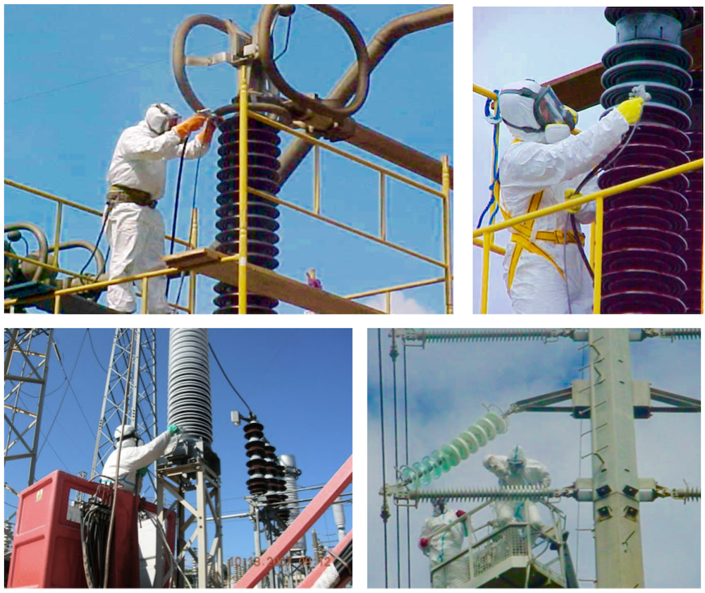 Examples of high voltage insulator coatings: In-field application on RTV coatings in Brazil (top) and Greece (bottom)