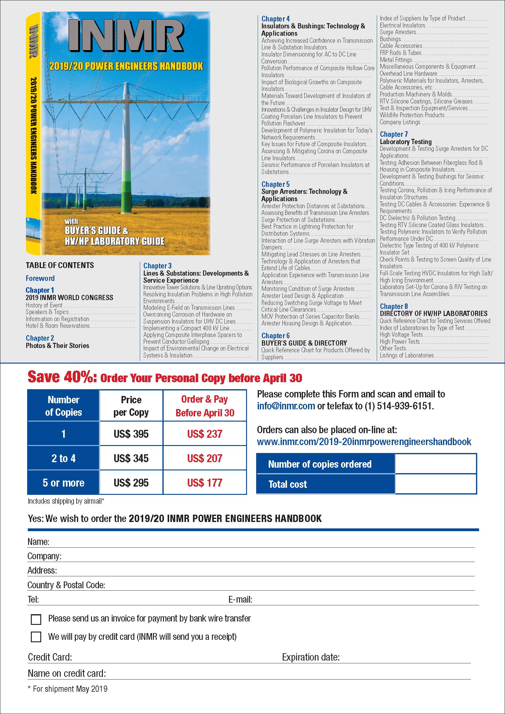 2019/20 INMR POWER ENGINEERS HANDBOOK order form [object object] 2019/20 INMR POWER ENGINEERS HANDBOOK Order Form for 2019 20 INMR POWER ENGINEERS HANDBOOK 1