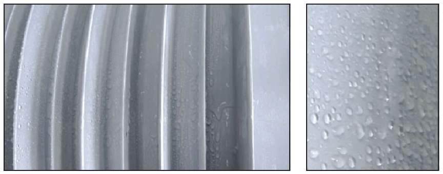 Fig. 10: (left) 24 hours after pollution test: (HV electrode on left side, (right) close-up of droplets. CLICK TO ENLARGE [object object] Pollution Performance of Composite Hollow Core Insulators inmr3