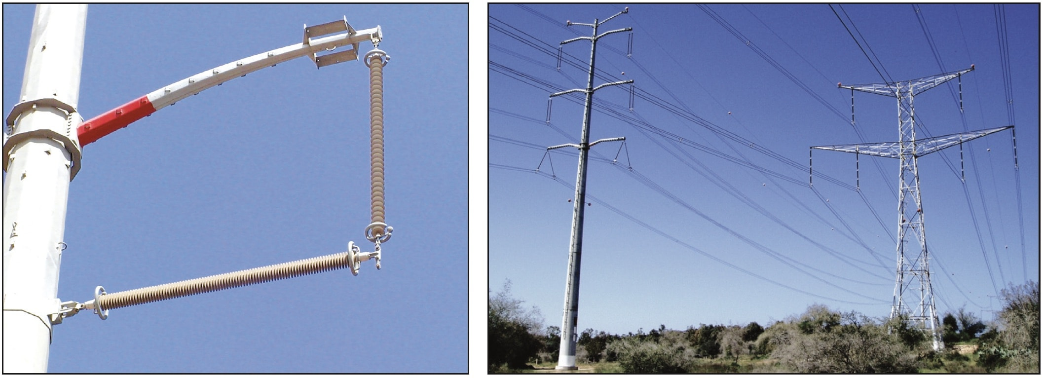 Tubular tension tower without cross-arms. Compact line next to traditional design of line. compact line Compact HV Lines in Israel Tubular tension tower without cross arms