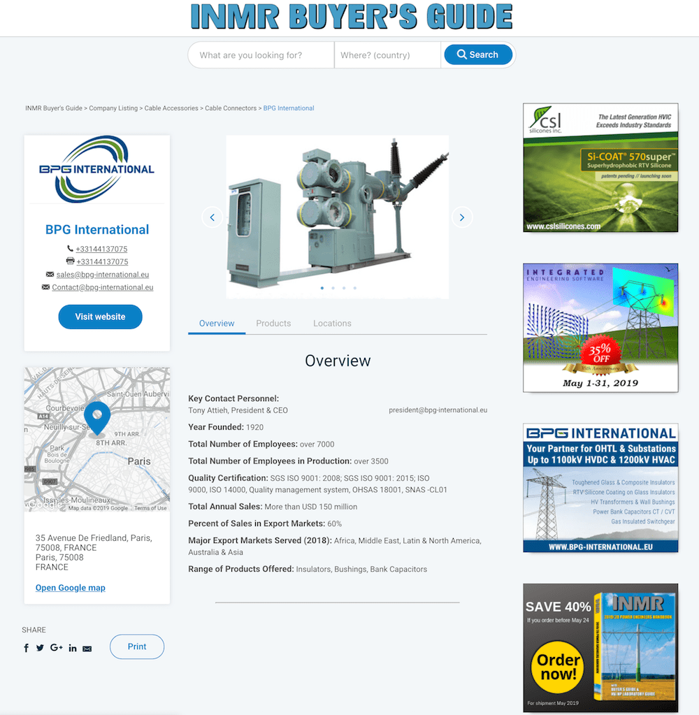 inmrbuyersguide.com www.INMRBUYERSGUIDE.com Allows Users of MV & HV Components to Choose from Many Qualified Suppliers www