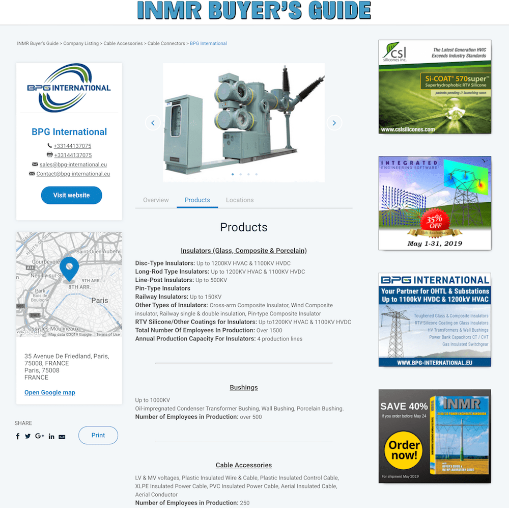 Product page for inmrbuyersguide.com inmrbuyersguide.com www.INMRBUYERSGUIDE.com Allows Users of MV & HV Components to Choose from Many Qualified Suppliers www