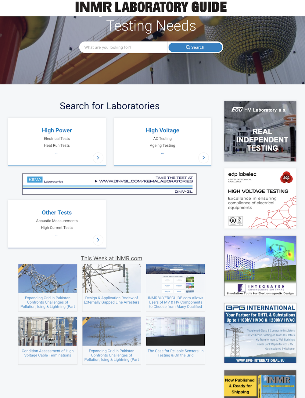 www.inmrlaboratoryguide.com Helps Manufacturers & Users of Equipment Select Qualified HV & HP Test Laboratories www