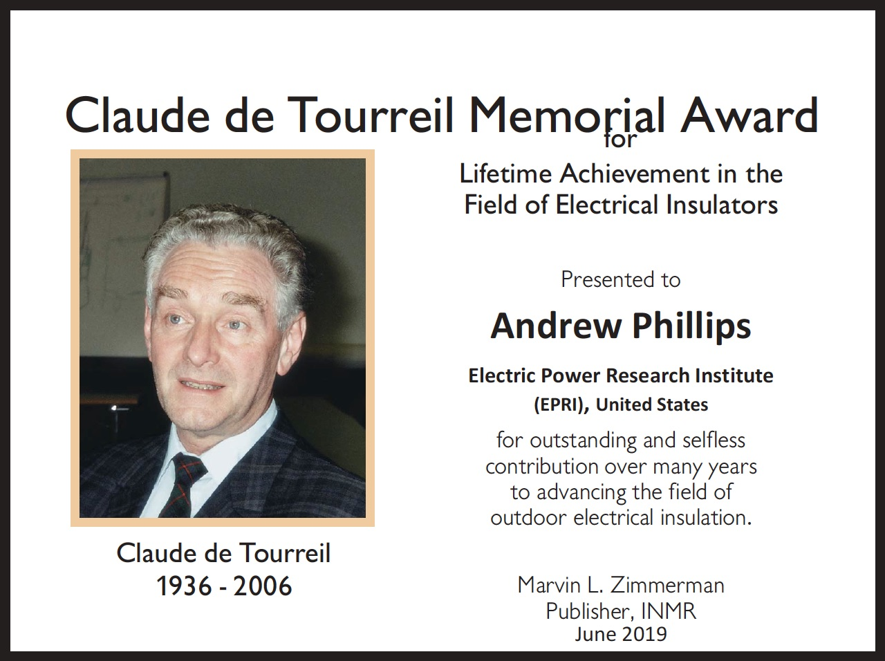 [object object] Andrew Phillips Receives 2019 Claude de Tourreil Memorial Award Andrew Phillips Receives 2019 Claude de Tourreil Memorial