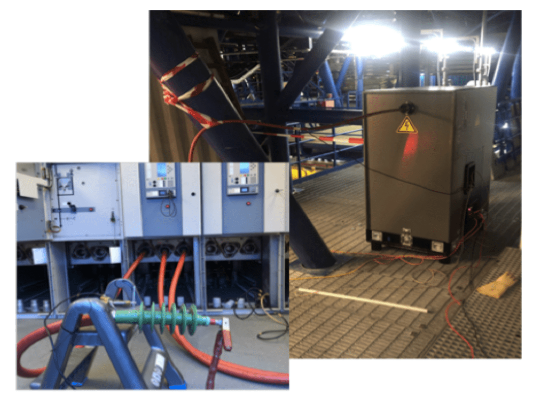 Damped AC for Commissioning & Diagnostic Testing of HV Cable Circuits Measurement set up of DAC offshore system connected to one phase