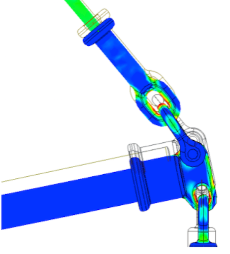 Braced Line Post Testing Detailed view of stress distribution with static analysis