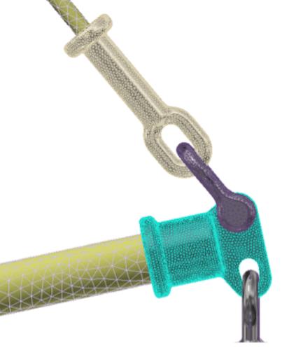 Braced Line Post Testing Example of fine mesh