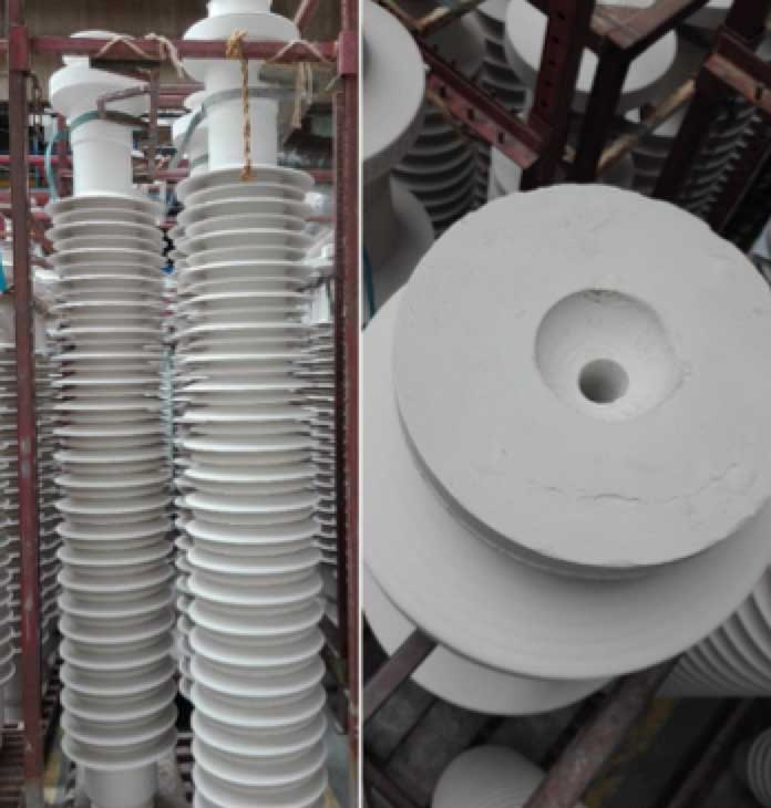 Adding Intelligence to Ceramic Insulators Fiber optic hole post insulator ready for glazing and firing