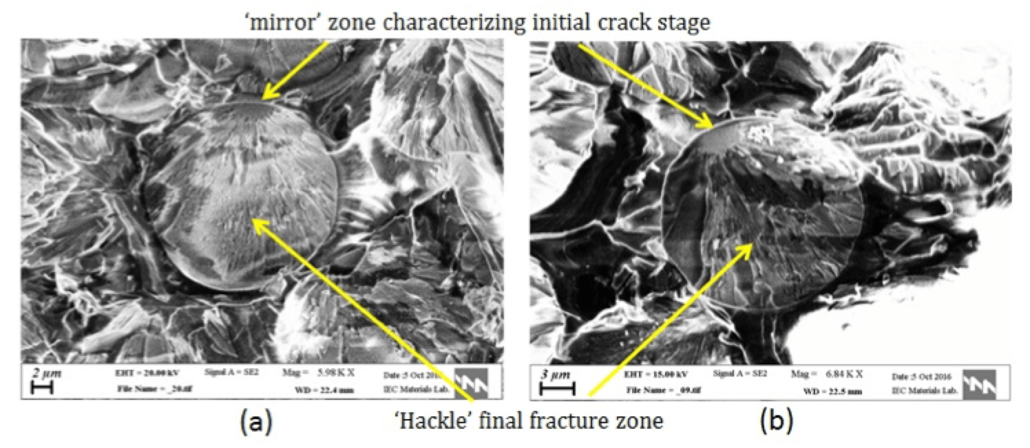 Stress Corrosion Cracking & Brittle Fracture of 400 kV Insulator in Humid Environment Fracture surface of fibers with characteristic fracture stage zones
