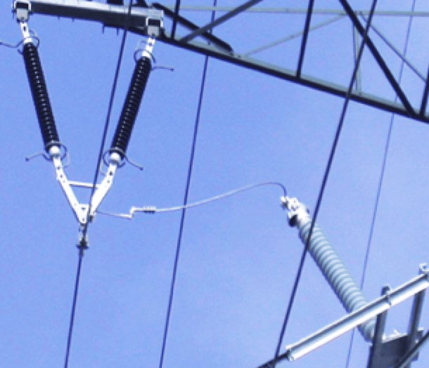 Application of Externally Gapped Line Arresters NGLA mounted on tower and connected with lead to 123 kV transmission line