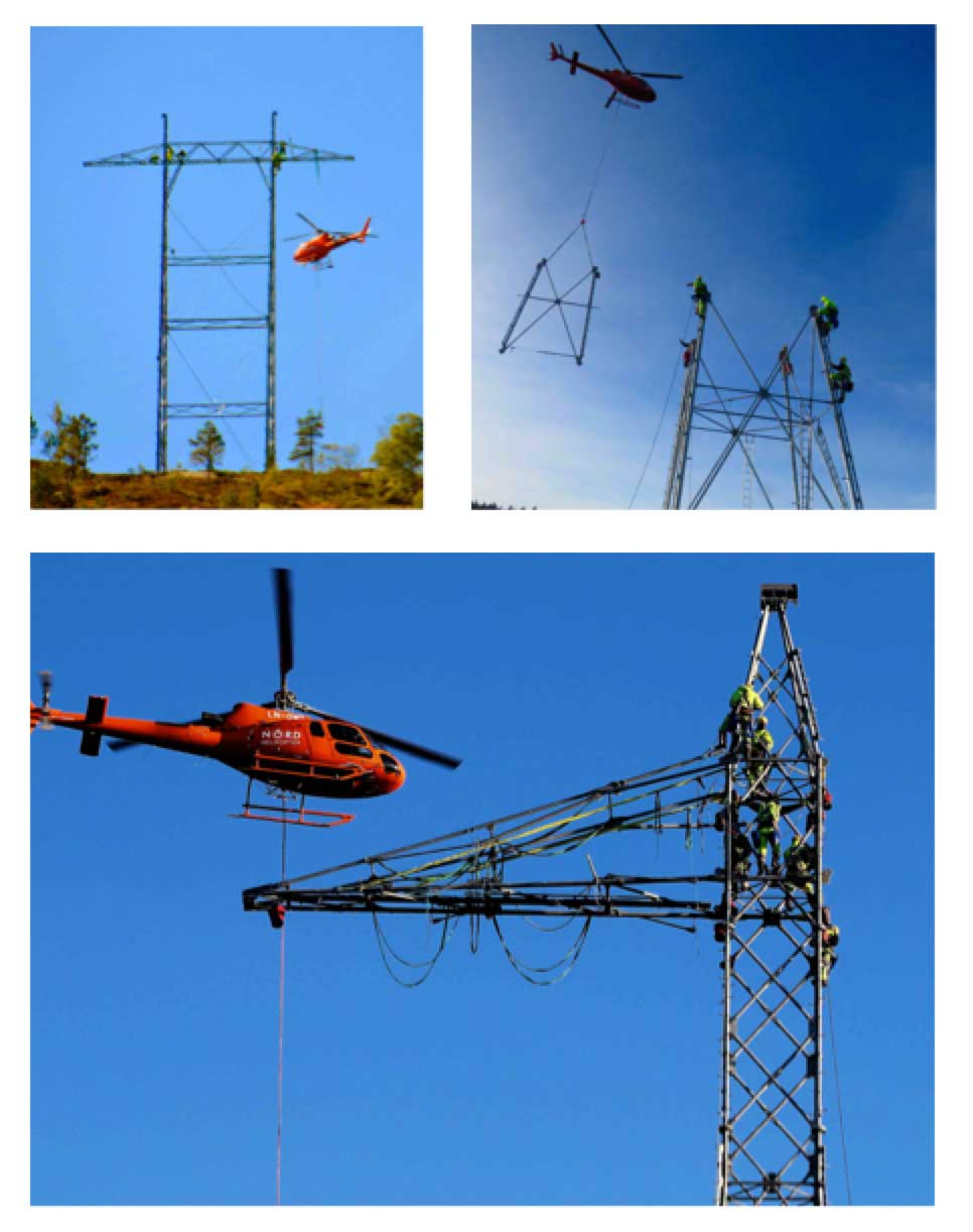 Network Expansion at Norwegian TSO (Part 1 of 2) Helicopters used for construction of new lines to minimize time workers have to spend on towers and conductors