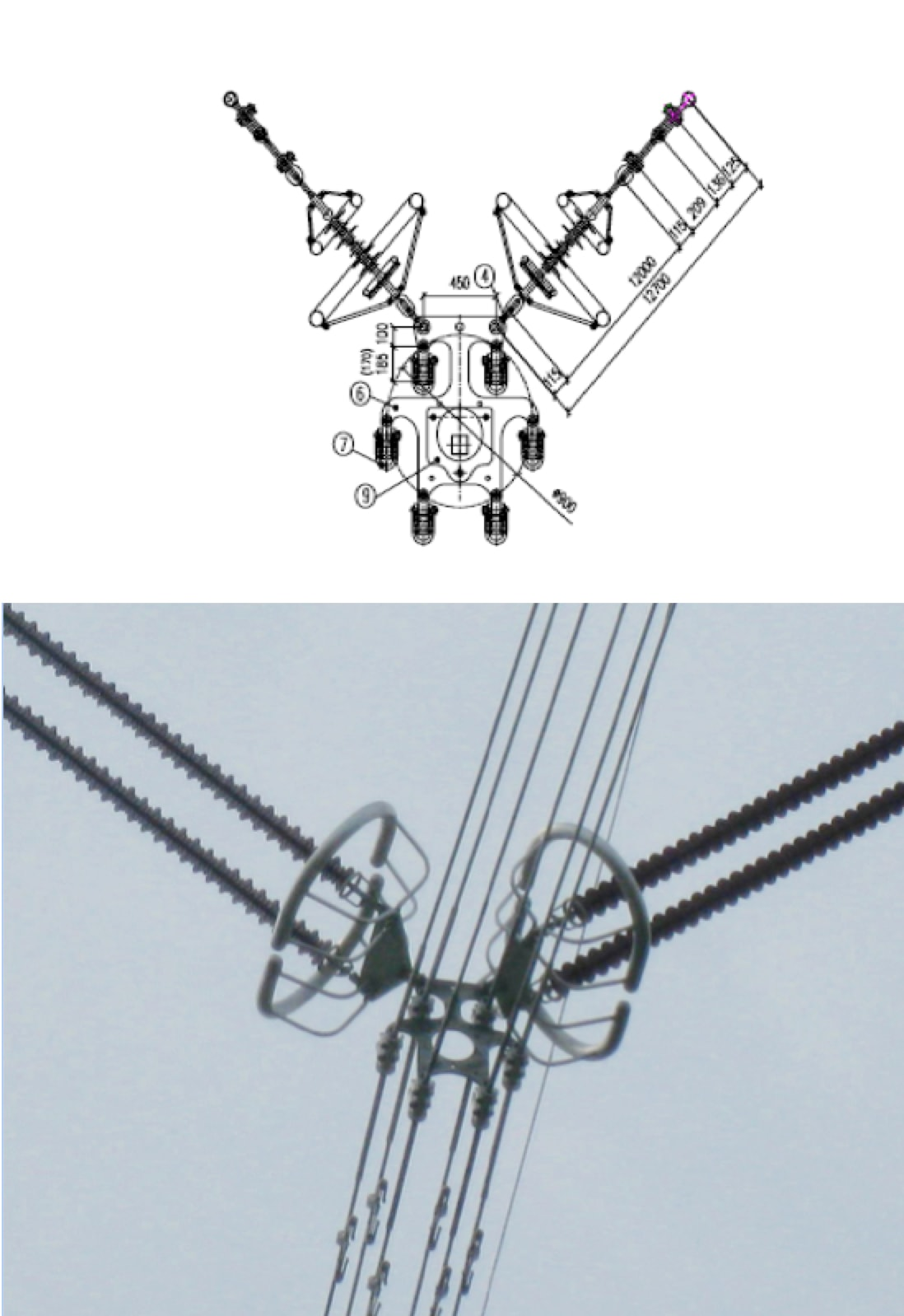 Shielding Electrodes for AC & DC Insulators Drawing of composite insulators with corona rings adopted for 800 kV DC line